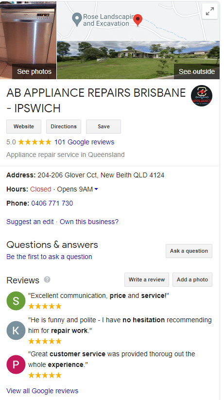 AB Appliance Repairs - Review
